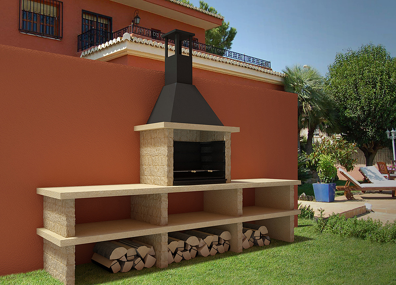 Barbacoa pirineos 43003 for Barbacoas de piedra para jardin